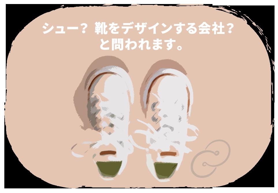 シュー? 靴をデザインする会社? と問われます。